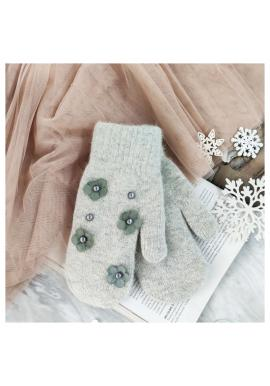 Zimné dámske rukavice sivej farby s kvetmi a perlami