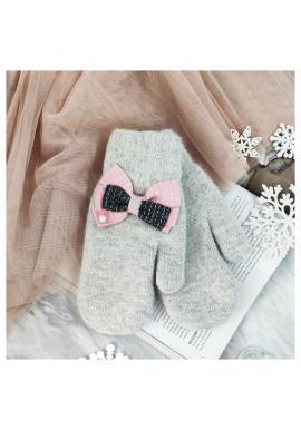 Zimné dámske rukavice sivej farby s mašľami