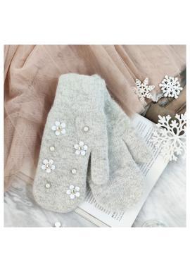 Sivé zimné rukavice s kvetmi a perlami pre dámy