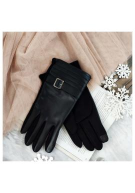 Pánske elegantné rukavice z ekokože v čiernej farbe