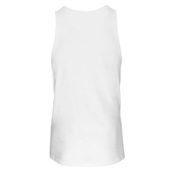 Biele pánske tričko bez rukávov s potlačou