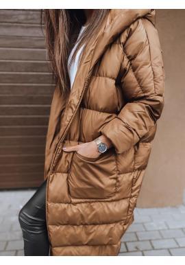 Hnedá zimná oversize bunda s prešívaním pre dámy
