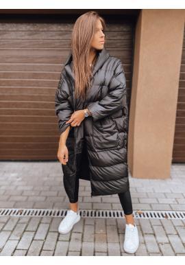 Zimná dámska oversize bunda čiernej farby s prešívaním