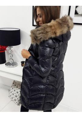 Čierne prešívané bundy na zimu pre dámy