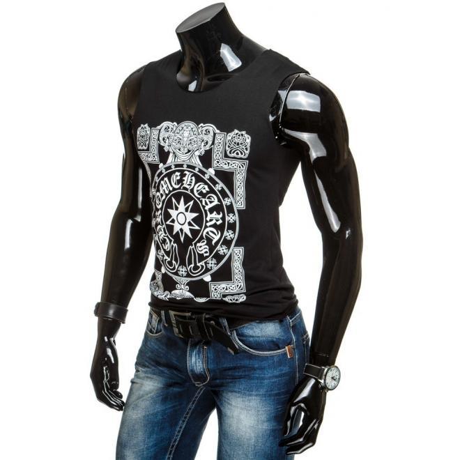 Štýlové tričko čiernej farby bez rukávov s bielou potlačou pre pánov