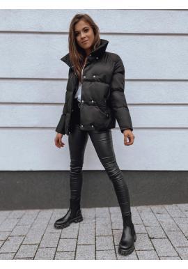 Čierna prechodná bunda s golierom pre dámy