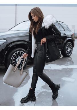 Zimná dámska parka čiernej farby s reguláciou v páse