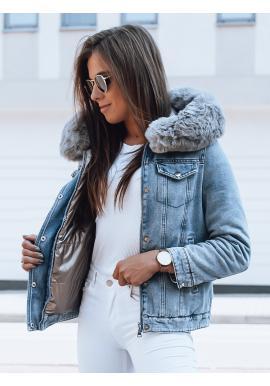 Svetlomodrá obojstranná bunda s kapucňou pre dámy