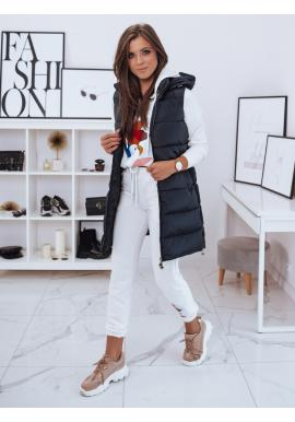 Dlhá dámska prešívaná vesta tmavomodrej farby s kapucňou