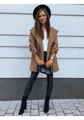 Hnedý elegantný kabát s reguláciou v páse pre dámy