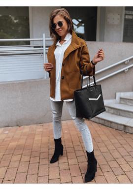 Hnedý krátky elegantný plášť s gombíkmi pre dámy