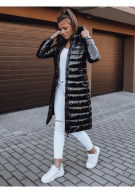 Dámska dlhá prešívaná bunda s kapucňou v čiernej farbe