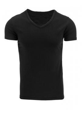 Klasické pánske tričko s V-ovým výstrihom čiernej farby