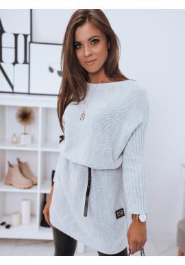Svetlosivý dlhý oversize sveter pre dámy