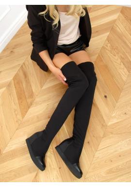 Dámske elastické čižmy nad kolená so skrytým opätkom v čiernej farbe