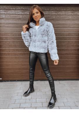 Svetlosivá kožušinová bunda so stojacím golierom pre dámy