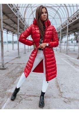Červená dlhá prešívaná bunda s kapucňou pre dámy