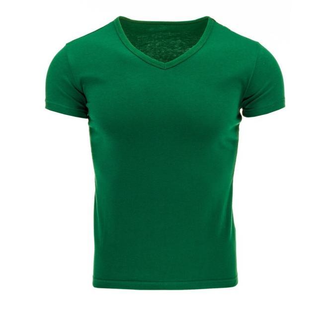 Klasické pánske tričko s V-ovým výstrihom zelenej farby