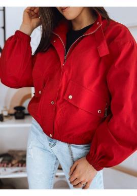 Červená oversize bunda na prechodné obdobie pre dámy