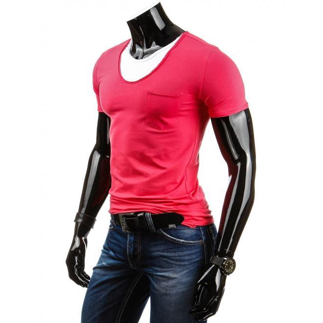 Tričko ružovej farby pre pánov s vreckom na hrudi