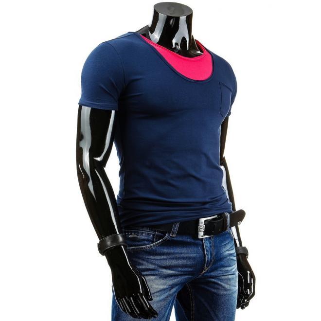 Pánske tričko s vreckom na hrudi tmavomodrej farby