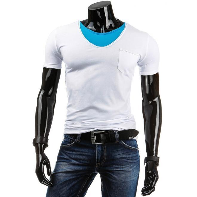 Biele tričko s vreckom na hrudi pre pánov