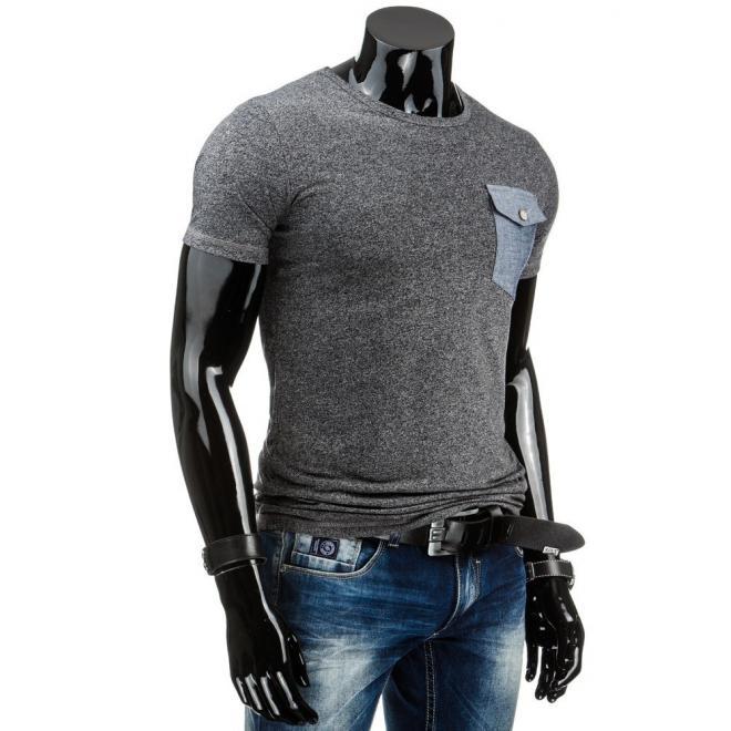 Pánske tmavosivé tričko s vreckom na hrudi