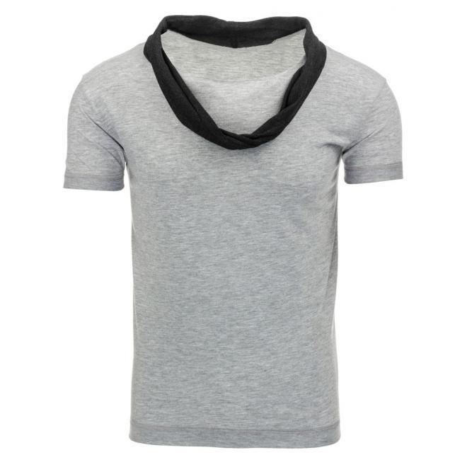 Dlhšie sivé tričko pre pánov s kapucňou