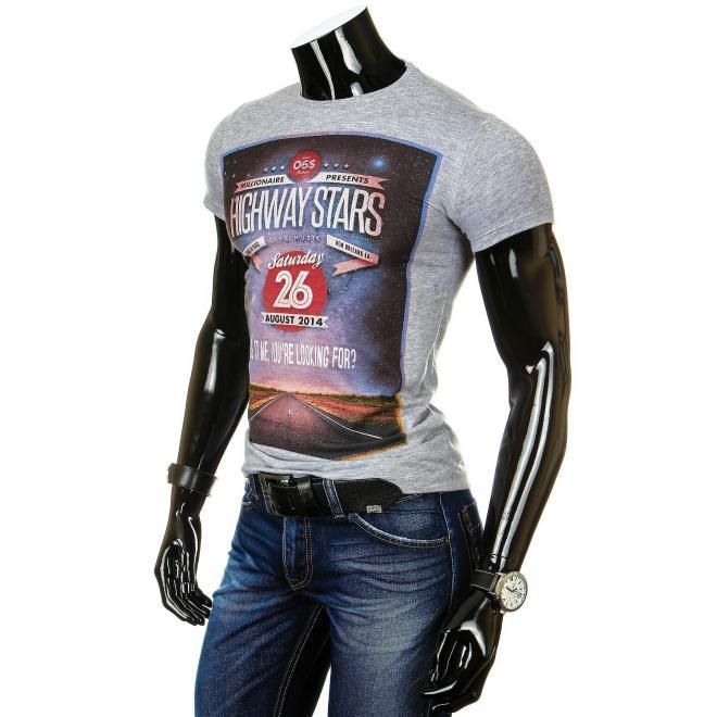 Pánske tričko sivej farby s farebnou potlačou