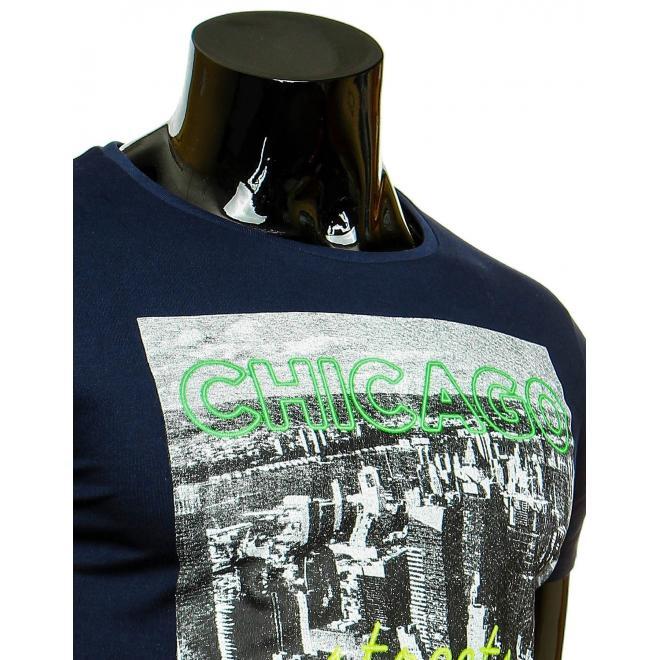 Pánske tričko s potlačou v tmavomodrej farbe