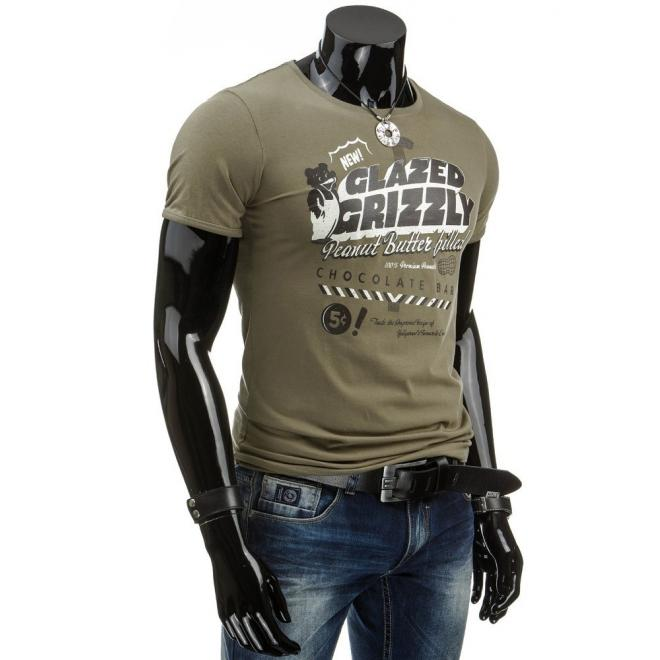 Kaki tričko s potlačou pre pánov