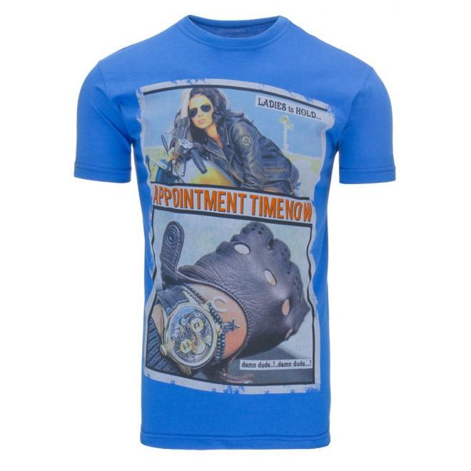 Tričko pre pánov so štýlovou potlačou v modrej farbe
