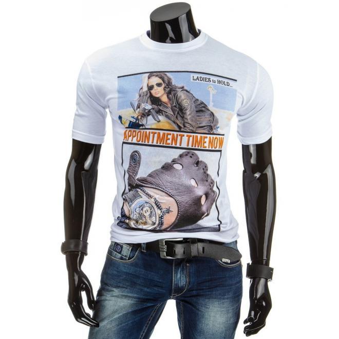 Biele tričko s potlačou pre pánov