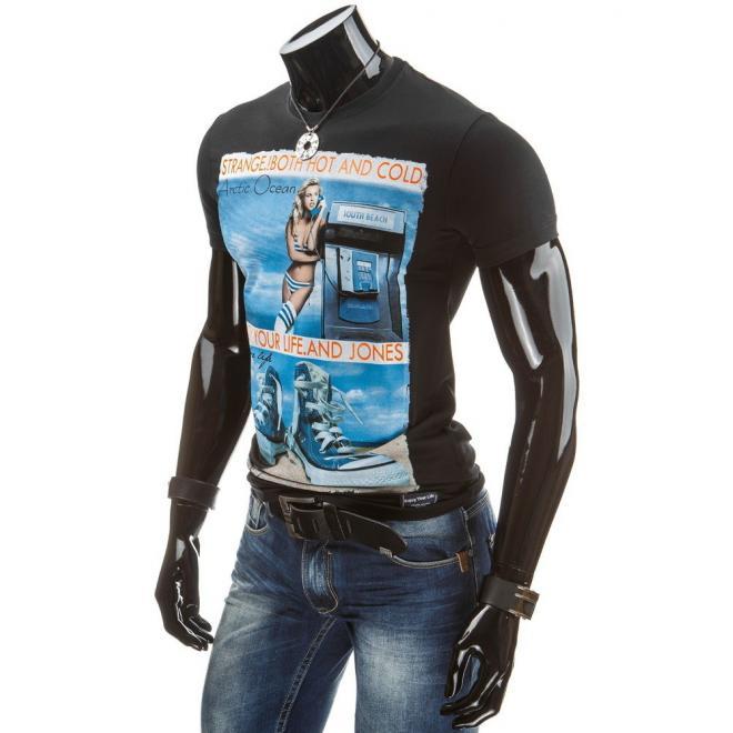 Pánske tričko čiernej farby s potlačou