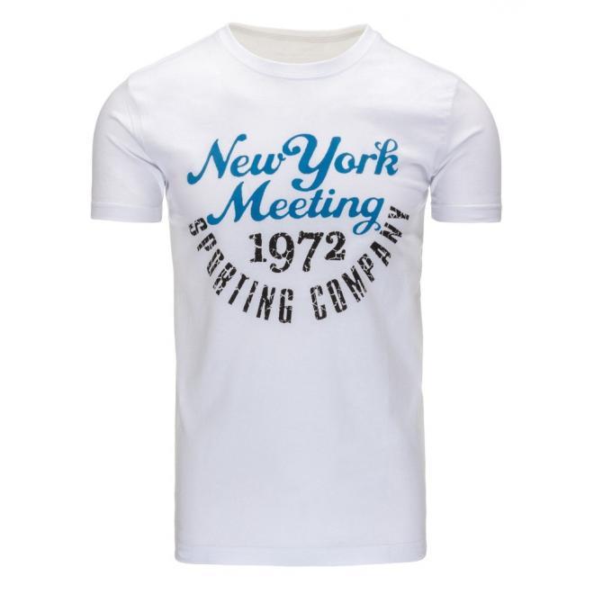 Tričko bielej farby s potlačou pre pánov
