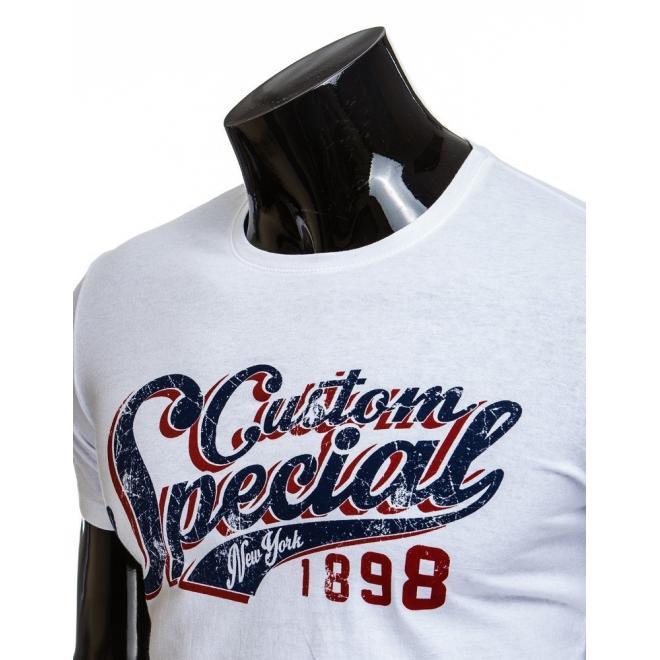 Tričko pre pánov bielej farby s potlačou