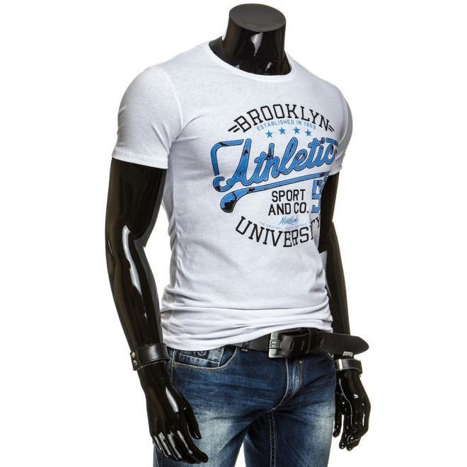 Tričko sivej farby pre pánov s farebnými nápismi