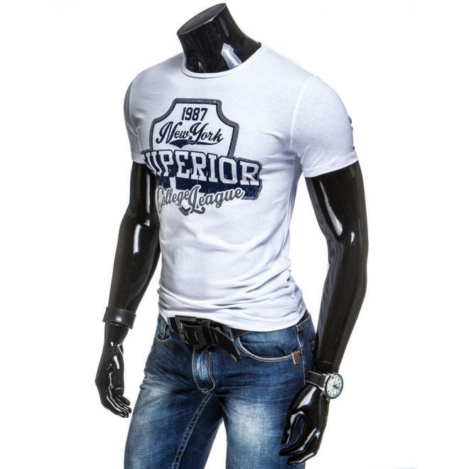 Tričko bielej farby pre pánov s potlačou