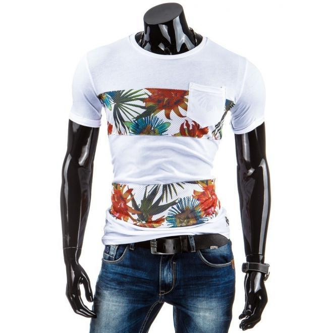 Pánske tričko s motívom rýb v oranžovej farbe