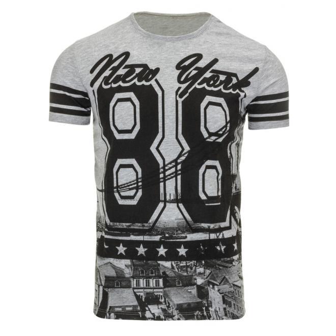 Čierne tričko s potlačou New York pre pánov