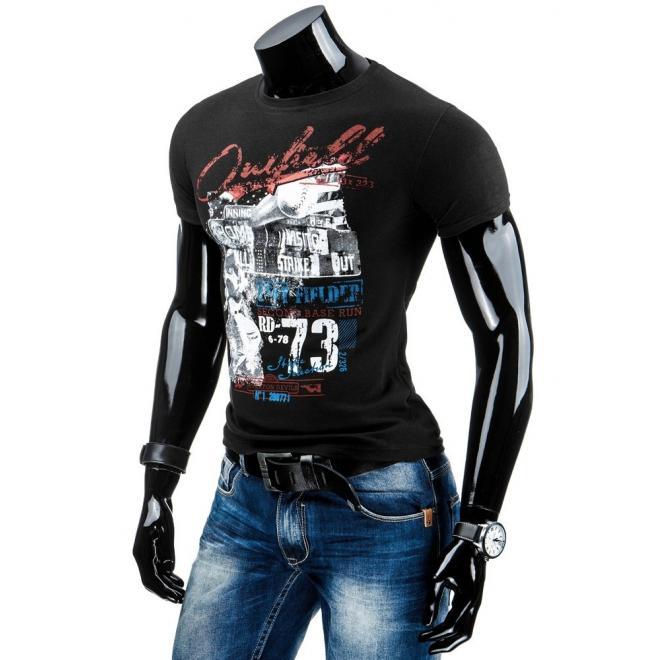 Čierne tričko s potlačou pre pánov