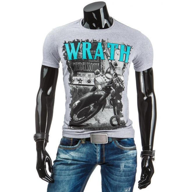 Tričko pre pánov s potlačou v sivej farbe