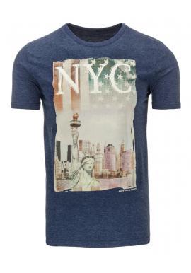 Pánske tričko modrej farby s farebnou potlačou