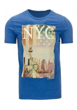 Modré tričko s potlačou NYC pre pánov