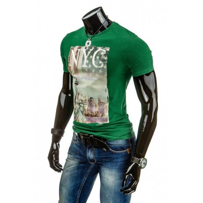 Tričko pre pánov s potlačou NYC v zelenej farbe