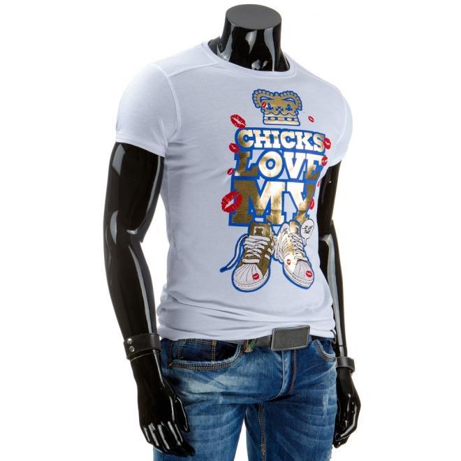 Pánske tričko sivej farby s lesklou potlačou