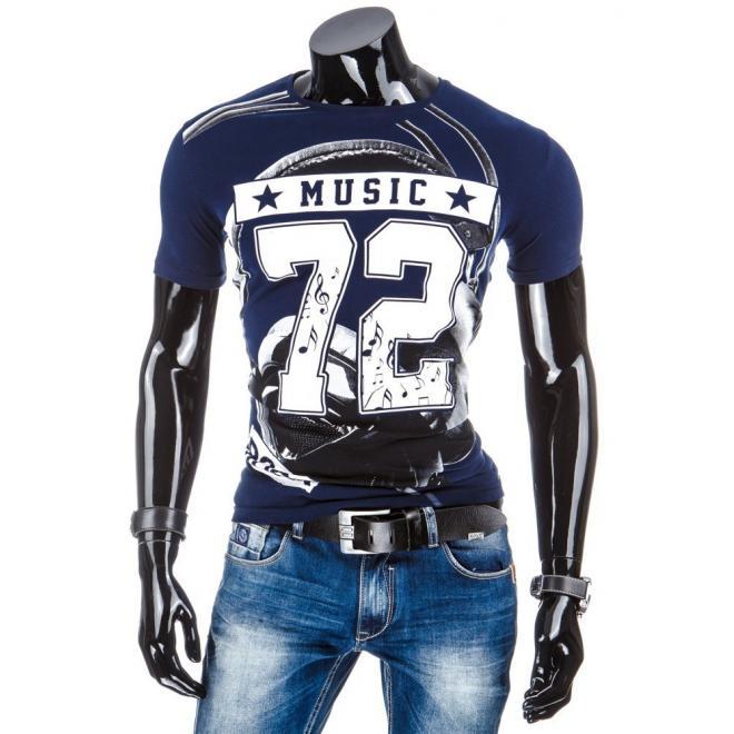 Pánske tričko sivej farby so štýlovou potlačou