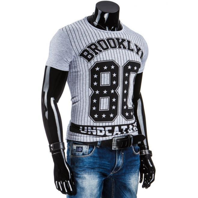 Sivé tričko s čiernou potlačou pre pánov