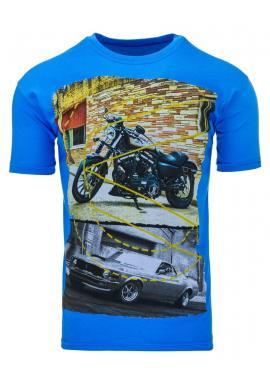 Tričko pre pánov s potlačou v modrej farbe