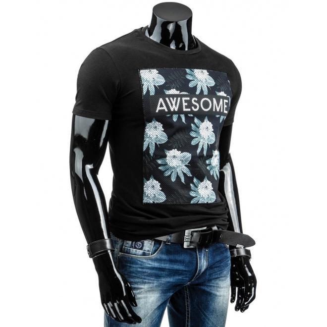 Pánske tričko čiernej farby so sieťkou a potlačou